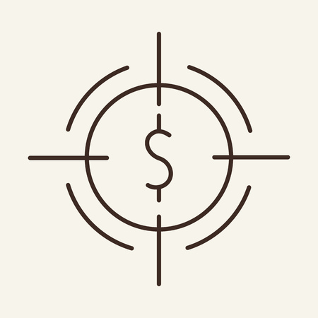 Dollar aim line icon. Target, optical sight, focus. Currency concept. Vector illustration can be used for topics like for finance, investment, profit, planning