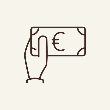 Euro in hand sign line icon. Giving money, cash, banknote, bills. Currency concept. Vector illustration can be used for topics like for contributor, investment, payment, tax Çizim