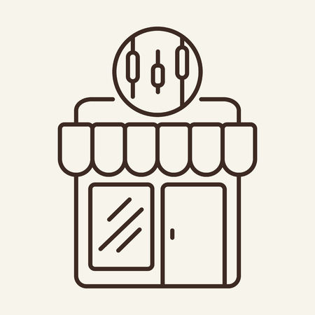 Insider trading line icon. Storefront, exchange, index, indicator. Trade concept. Vector illustration can be used for topics like for stock market, brokerage, broker