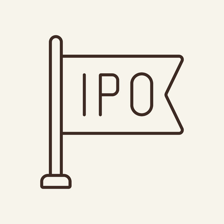 IPO line icon. Flag, marker, offering. Trade concept. Vector illustration can be used for topics like for stock exchange, market, initial public offering
