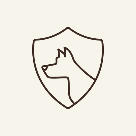 Pet insurance line icon. Dog shape on shield. Insurance concept. Vector illustration can be used for topics like animal care, accident, vet help Illusztráció
