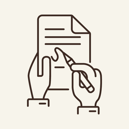 Signing contract line icon. Writing in document, paper, hand, pen. Insurance concept. Vector illustration can be used for topics like agreement, deal, signature