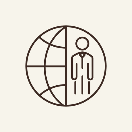 Global business line icon. International manager, partner, customer. Global concept. Vector illustration can be used for topics like internet, business, networking