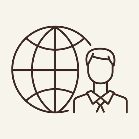 Global management line icon. Web user, freelancer, blogger. Global concept. Vector illustration can be used for topics like business, communication, internet