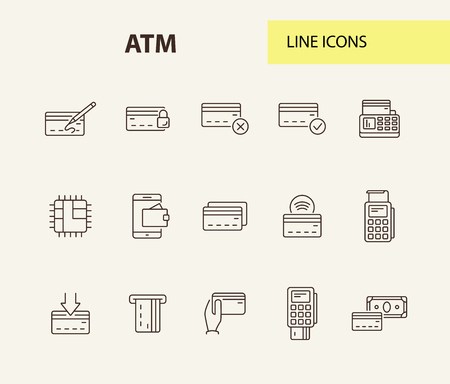 ATM line icon set. Banking and cash concept. Vector illustration can be used for topics like shopping, supermarkets, stores