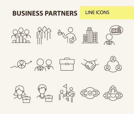 Business partners line icon set. Team, coworkers, handshake, meeting. Partnership concept. Can be used for topics like cooperation, collaboration, teamwork Illustration
