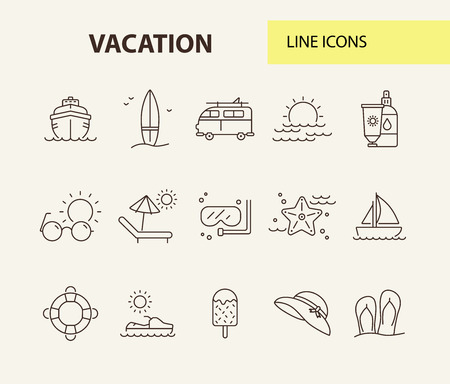 Vacation line icon set. Scuba diving, flip flops, hat. Beach concept. Can be used for topics like tropical resort, relax, seaside, summer activities