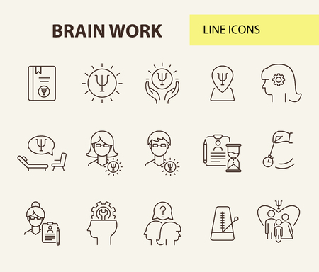 Brain work line icon set. Human head, gear, psychologist office. Psychology concept. Can be used for topics like psychoanalysis, mental activity, science Stock Vector - 121102339