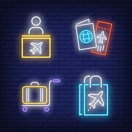 Air travel neon sign set. Check-in counter, boarding pass, luggage, duty free bag. Colorful billboard, bright banner. Vector illustration in neon style for topics like trip, departure, airport Illustration