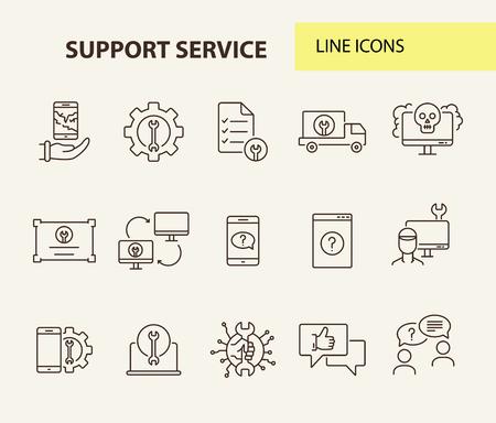Support-Service-Line-Icon-Set. Mechaniker, Kunde, Smartphone. Konzept für digitale Geräte. Kann für Themen wie Online-Hilfe, Hilfe, Service Center verwendet werden Vektorgrafik