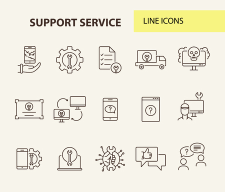 Support service line icon set. Repairman, customer, smartphone. Digital gadgets concept. Can be used for topics like online help, assistance, service center 矢量图像