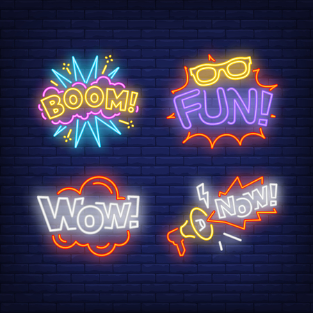 Exclamations neon sign set. Wow, Fun, Boom, Now, inscriptions. Colorful billboard, bright banner. Vector illustration in neon style for topics like surprising news, sensation, event announcements