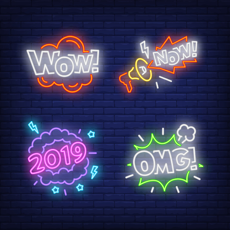 Exclamations neon sign set. OMG, Wow, Now, 2019 inscriptions. Colorful billboard, bright banner. Vector illustration in neon style for topics like surprising news, sensation, event announcements Illustration