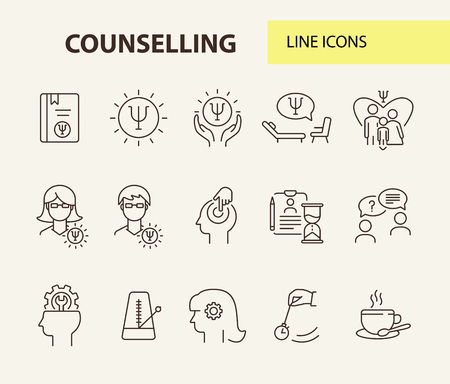 Counselling line icon set. Psi letter, hypnosis, cup of tea. Psychology concept. Can be used for topics like mental science, psychological help, assistance