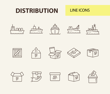 Distribution line icon set. Ships and cargo packages concept.Vector illustration can be used for topics like marine, transportation, export