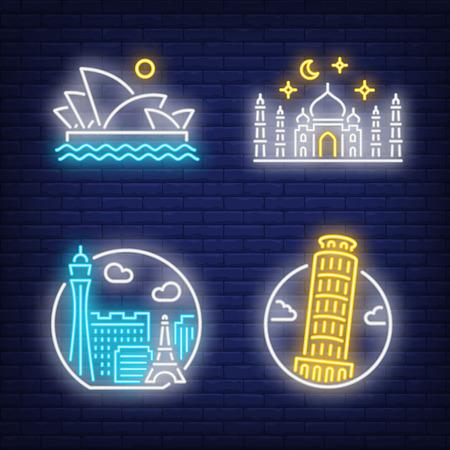Landmarks neon sign set. Pisa, Las Vegas, Sidney, Istanbul. Flyers, billboard, bright banner. Vector illustration in neon style for topics like travel, sights, attraction