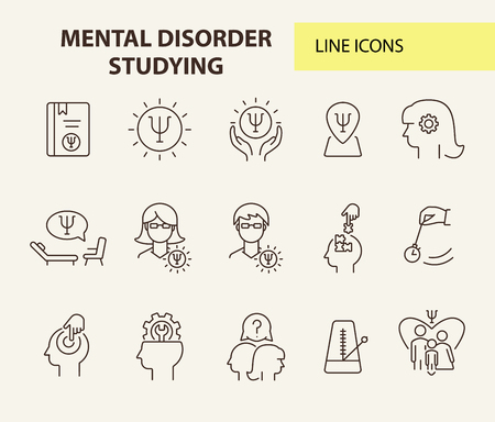 Mental disorder studying line icon set. Psychologist, hypnosis, metronome. Psychology concept. Can be used for topics like behavioral therapy, mental science, research Ilustracja