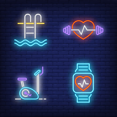 Fitness neon sign set. Swimming pool, treadmill, smartwatch, weight. Flyer, invitation, bright banner. Vector illustration in neon style for sport, gym, healthy lifestyle