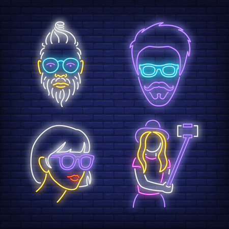 Millennials neon sign set. Hipster, tourist, girl, guy, selfie. Colorful billboard, bright banner. Vector illustration in neon style for topics like fashion, youth, lifestyle