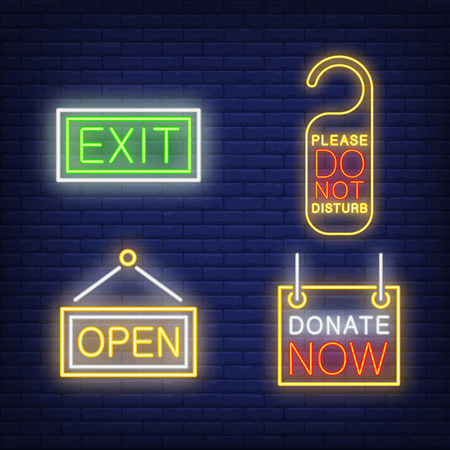 Hotel tablets neon sign set. Exit, open, do not disturb tag, donate now. Colorful billboard, bright banner. Vector illustration in neon style for service and hospitality