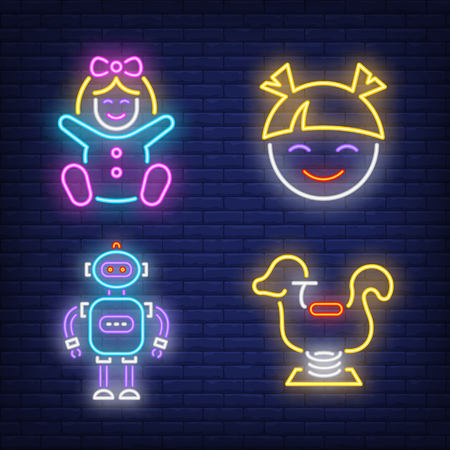 Play center neon sign set. Baby girl, toddler, children, rocking toys, robot. Colorful billboard, bright banner. Vector illustration in neon style for topics like kids zone or amusement park