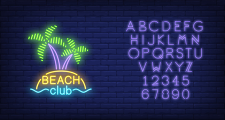 Beach club lettering and cocktail and island with palms. Neon sign on brick background. Bar, restaurant, summer resort. Summer vacation concept. For topics like holiday, resort, entertainment