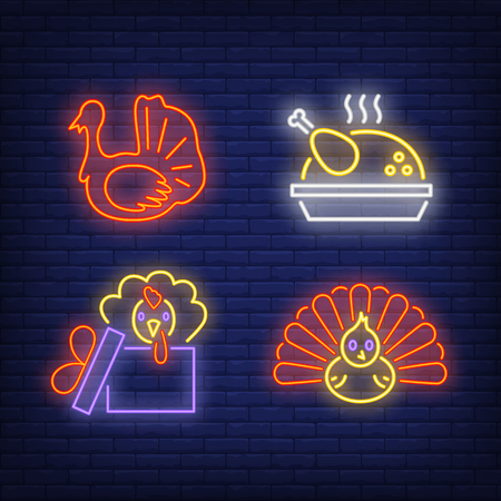 Thanksgiving turkey neon sign set. Meal, bird, poultry, gift. Colorful billboard, bright banner. Vector illustration in neon style for topics like autumn and thanksgiving dinner