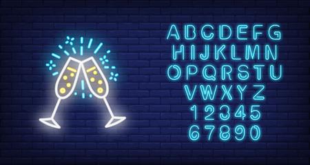 Couple of Champaign flutes. Neon sign element. Celebration concept. Vector illustration for success, engagement, festive event