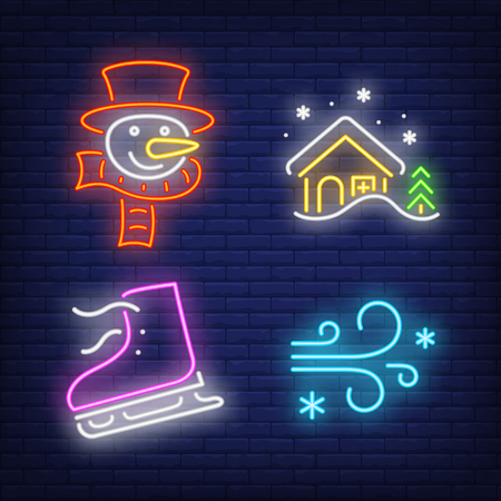 Winter activities neon sign set. Snow, wind, skating, snowman. Colorful billboard, bright banner. Vector illustration in neon style for topics like cold weather or vacation