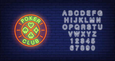 Poker club neon sign. Text on roulette, card suits. Night bright advertisement. Vector illustration in neon style for gambling, casino, games