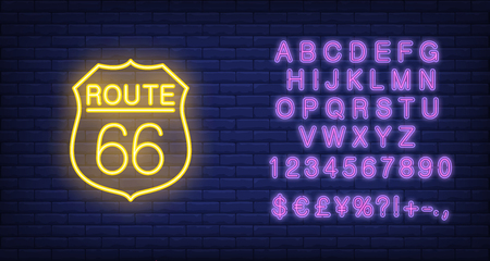 Route sixty six badge. Neon style vector on brick background. USA banner. Historic place, road, monument valley. For famous place, travel, tourism concepts