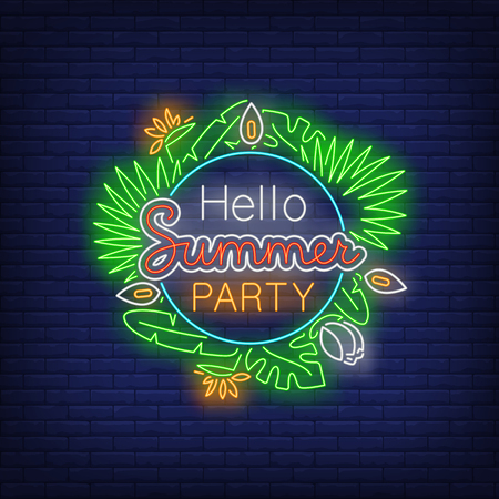 Hello Summer Party neon text with exotic plants leaves. Resort, tourism, vacation design. Night bright neon sign, colorful billboard, light banner. Vector illustration in neon style.