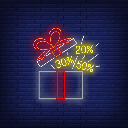 Open gift box neon sign with discount percentage values. Holiday, sale, shopping design. Night bright neon sign, colorful billboard, light banner. Vector illustration in neon style.