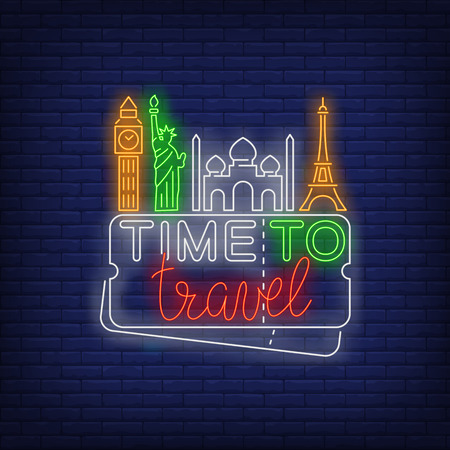 Time to Travel neon lettering with famous landmarks. Tourism, vacation and travel design. Night bright neon sign, colorful billboard, light banner. Vector illustration in neon style. Illustration