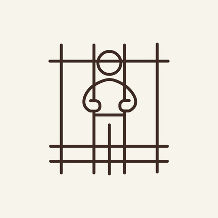 Imprisoned man line icon. Criminal, jail, cell. Justice concept. Vector illustration can be used for topics like crime, punishment, law  イラスト・ベクター素材