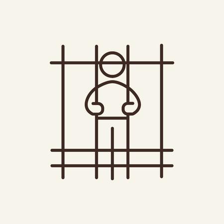 Imprisoned man line icon. Criminal, jail, cell. Justice concept. Vector illustration can be used for topics like crime, punishment, law Ilustração