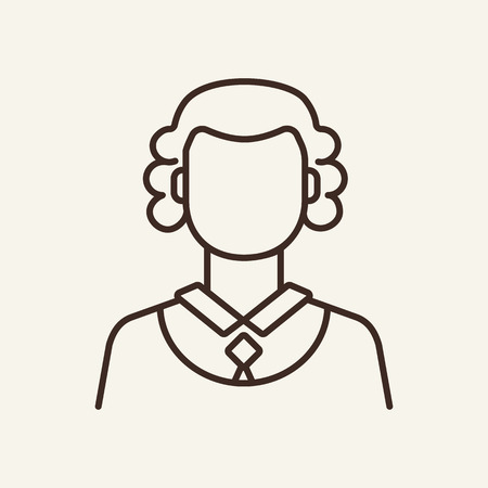 Judge line icon. Lawsuit, jury, woman. Justice concept. Vector illustration can be used for topics like law enforcement, court, law Vector Illustration
