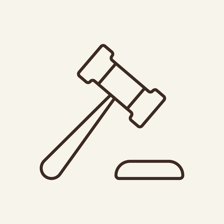Judges gavel line icon. Auction, lawsuit, courthouse. Justice concept. Vector illustration can be used for topics like court, law, business