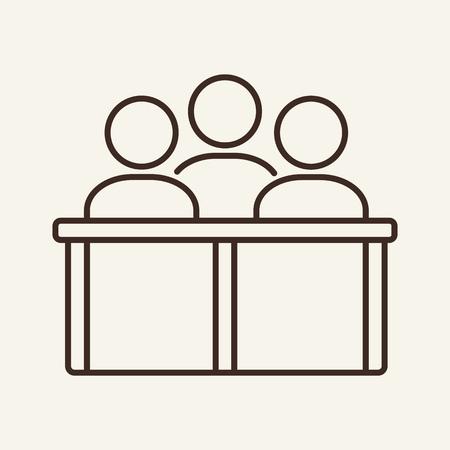 Icône de ligne de jury. Equipe, public, spectateurs. Notion de justice. L'illustration vectorielle peut être utilisée pour des sujets comme le tribunal, le droit, les affaires