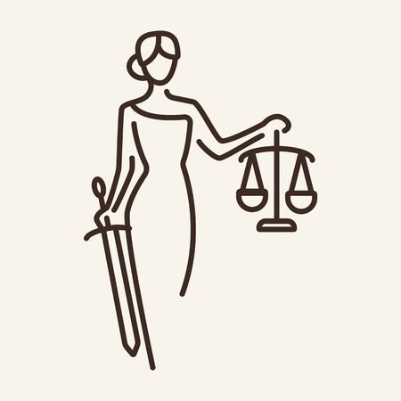 Justice line icon. Statue, courthouse. Justice concept. Vector illustration can be used for topics like court, law, Greek mythology