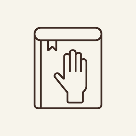 Law line icon. Bible, oath, witness. Justice concept. Vector illustration can be used for topics like court, legislation, politics