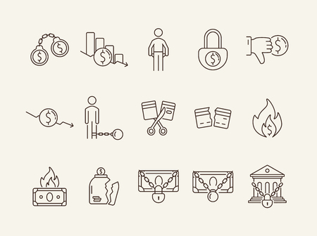 Debt icons. Set of line icons on white background. Arrested bank, broken jar, cutting credit card. Bankruptcy concept. Vector illustration can be used for topics like finance, crime, banking 矢量图像