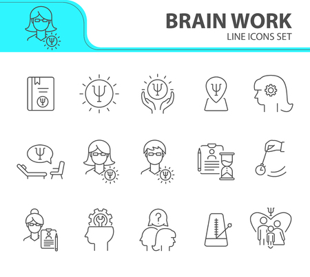 Brain work line icon set. Human head, gear, psychologist office. Psychology concept. Can be used for topics like psychoanalysis, mental activity, science Stock Vector - 121872688