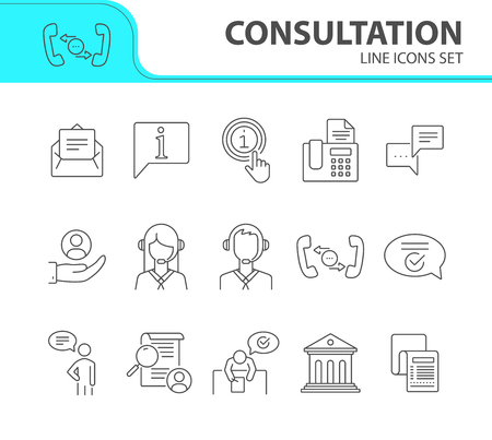Consultation line icon set. Newsletter, telephone, operator. Customer support concept. Can be used for topics like service, call center, hotline