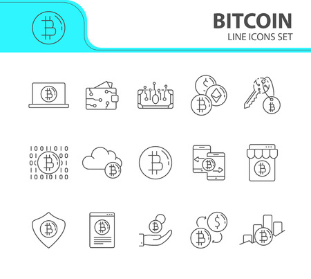 Bitcoin icons. Line icons collection on white background. Bitcoin code, digital money, bitcoin transaction. Mining concept. Vector illustration can be used for topic like finance, internet, commerce