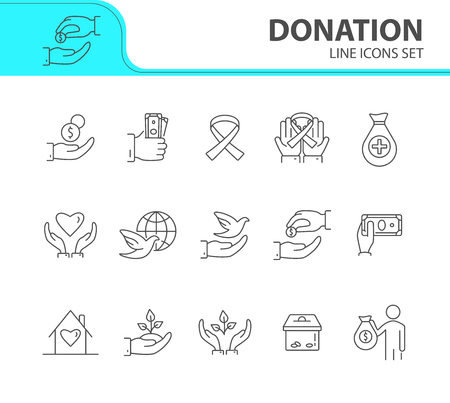 Donation icons. Line icons collection on white background. Awareness ribbon, benefactor, dove of peace. Support concept. Vector illustration can be used for topic like charity, volunteering, help Çizim