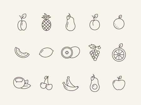 Icone di cibo vegetariano. Set di icone di linea su sfondo bianco. Uva, limone, prugna. Concetto di frutta. L'illustrazione vettoriale può essere utilizzata per argomenti come alimentazione sana, cibo, dieta Vettoriali
