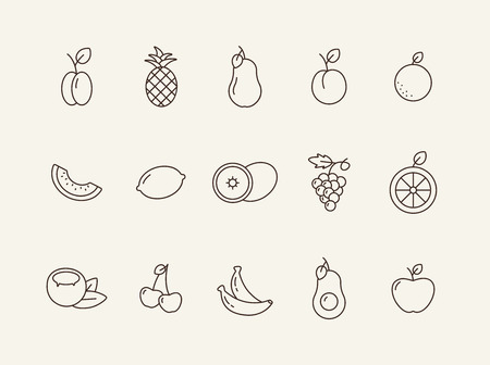 Vegetarian food icons. Set of line icons on white background. Grape, lemon, plum. Fruit concept. Vector illustration can be used for topics like healthy eating, food, dieting Vector Illustratie