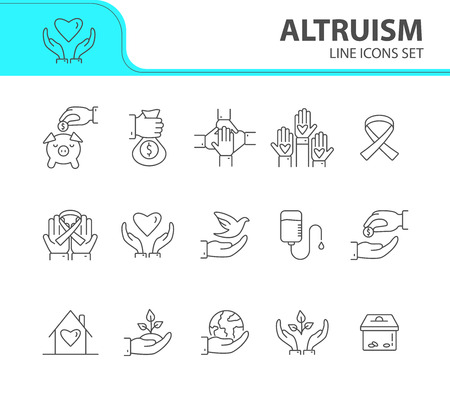 Altruism icons. Line icons collection on white background. Charity, blood donation, charity box. Donation concept. Vector illustration can be used for topics like helping hand, support, funding