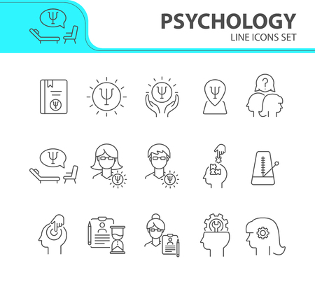 Psychology line icon set. Man, woman, head, gear. Mental science concept. Can be used for topics like psychoanalysis, mental therapy, brain work